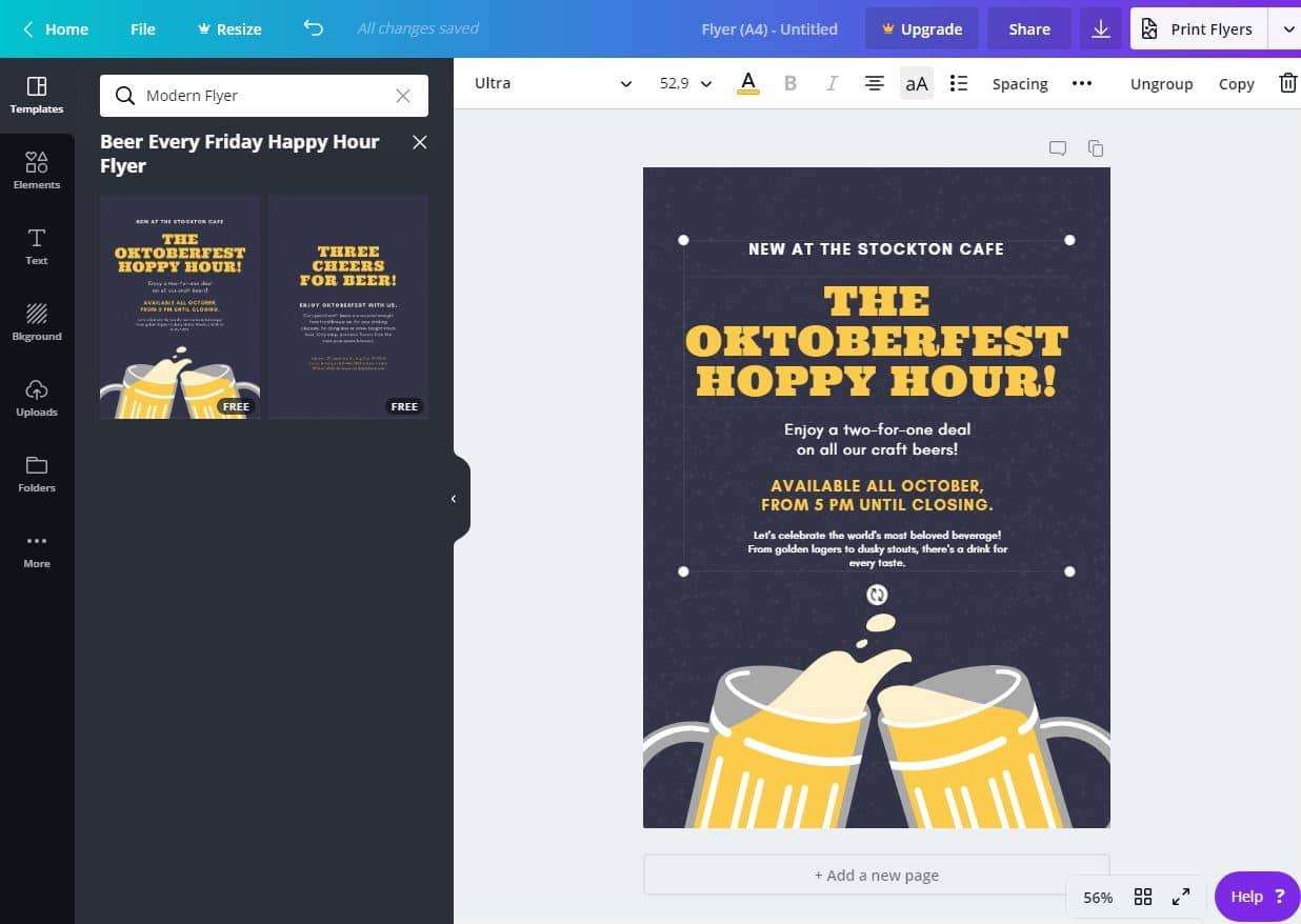 Söröző szórólap online tervezés