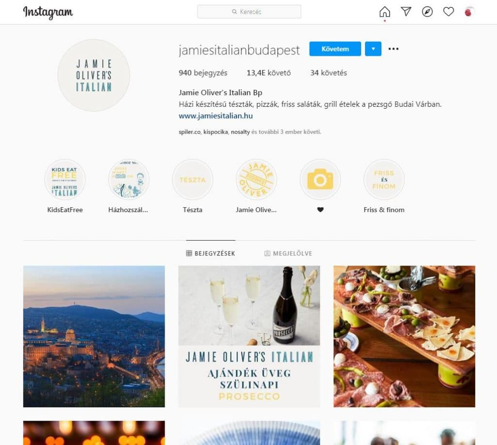 Jamie Oliver éttermének Instagram oldala